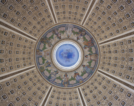 View of the ceiling of the main reading room.