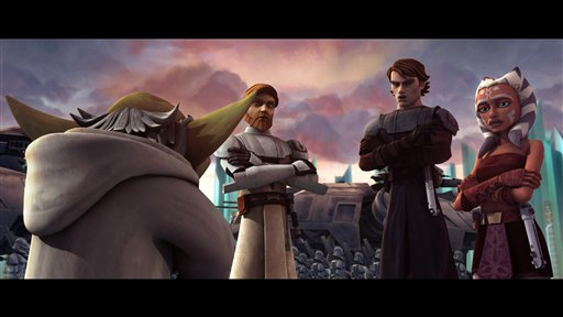 "In this image released by Lucasfilm Ltd., Yoda, left, Obi-Wan Kenobi, second left, Anakin Skywalker and his padawan, Ahsoka Tano, right, are shown in a scene from the upcoming ""Star Wars: The Clone Wars."" The Lucasfilm Animation production will be released Friday, Aug. 15, 2008, by Warner Bros. Pictures. (AP Photo/Lucasfilm Ltd.) ** NO SALES **"